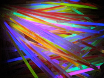 Inside the box: glow sticks...