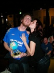 Josephine Rowe gives Geoff Lemon a kiss after he wins the NYWF 2009 Spelling Bee (3/10/09)